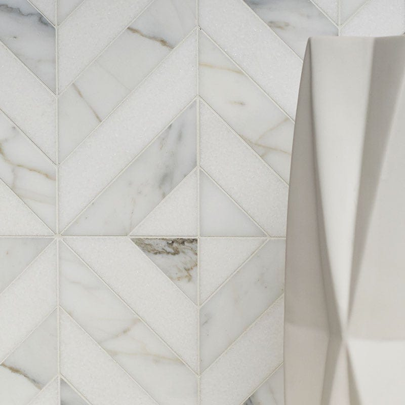 Thassos White Calacatta Gold Honed Marina Chevron Marble