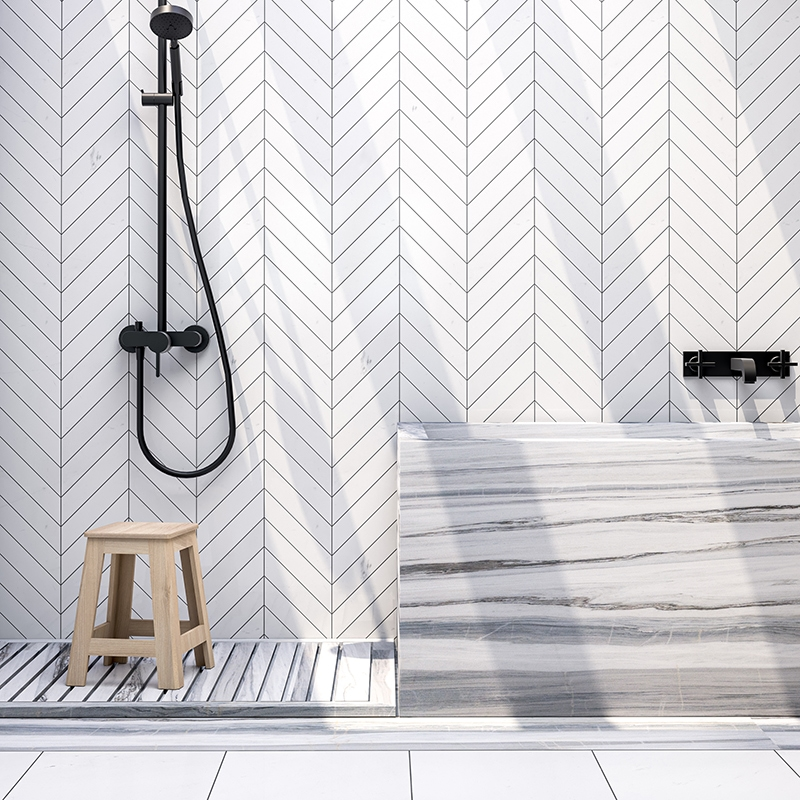ASPEN WHITE POLISHED CHEVRON MARBLE WATERJET DECOS (NW90662) ASPEN WHITE POLISHED MARBLE TILES (TL16765) SKYLINE POLISHED MARBLE SLAB (SL11046)