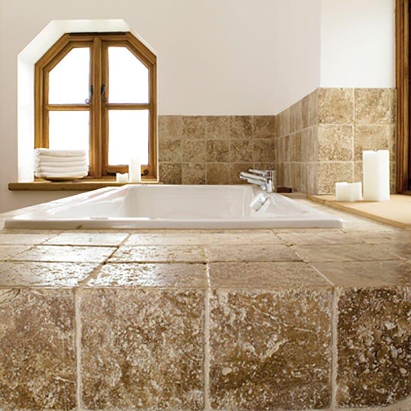 Dark Travertine Tile walnut dark tumbled travertine tiles 4x4 - marble system inc.