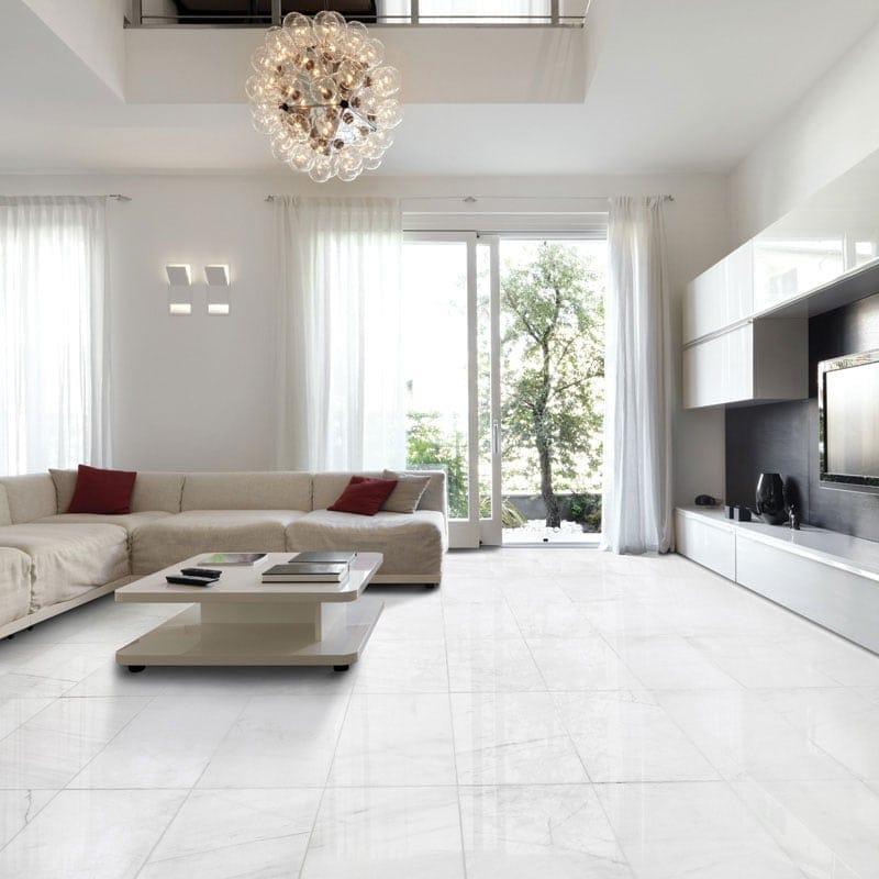 Snow White Polished Marble Tiles 12x24