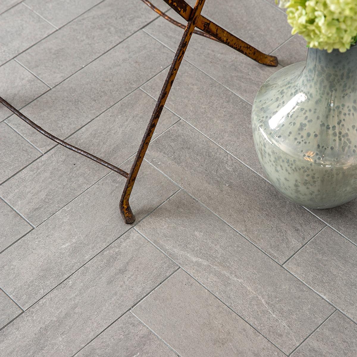 Light Grey Natural Porcelain Tiles 4x12