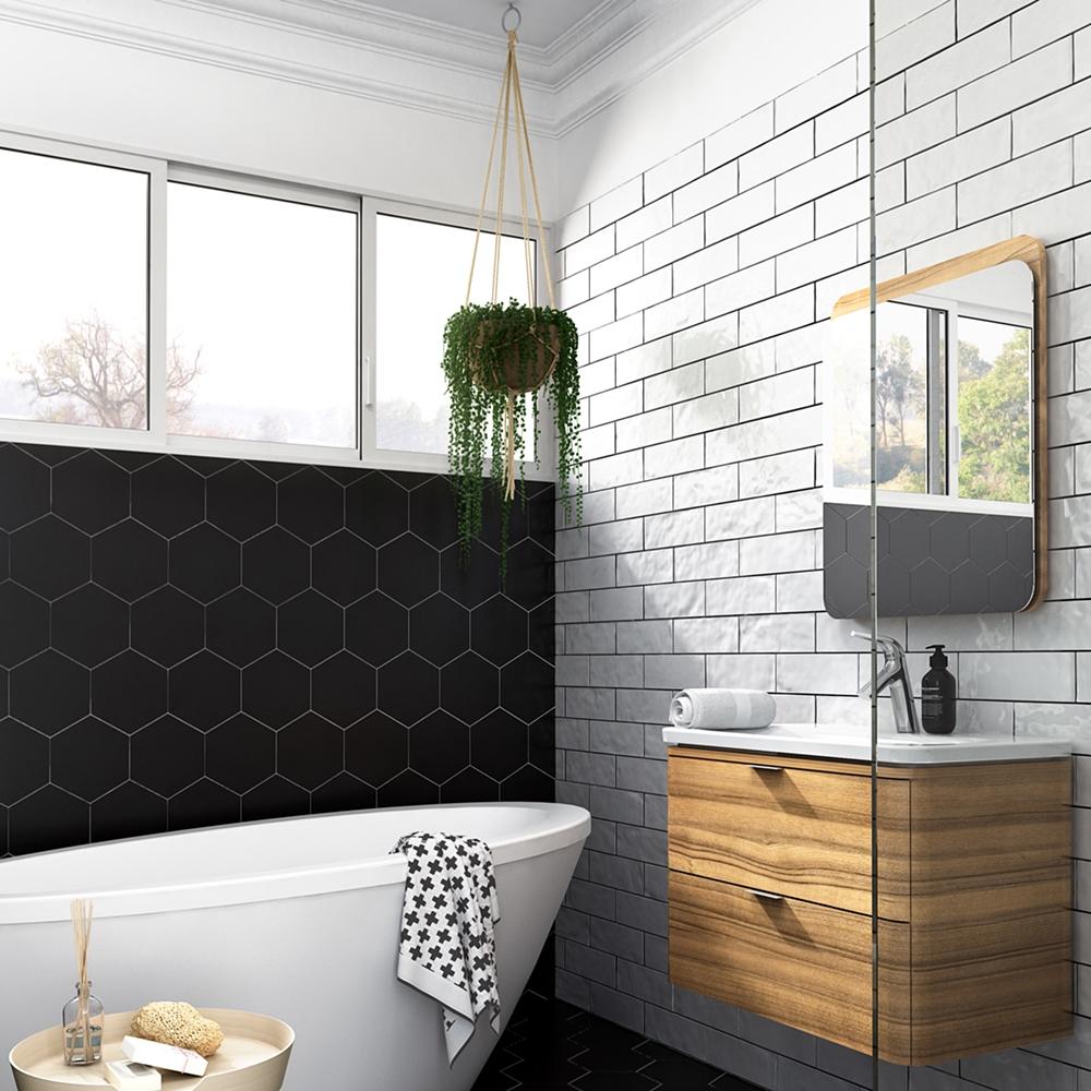 Black Matte Hexagon Ceramic Tiles 8 1