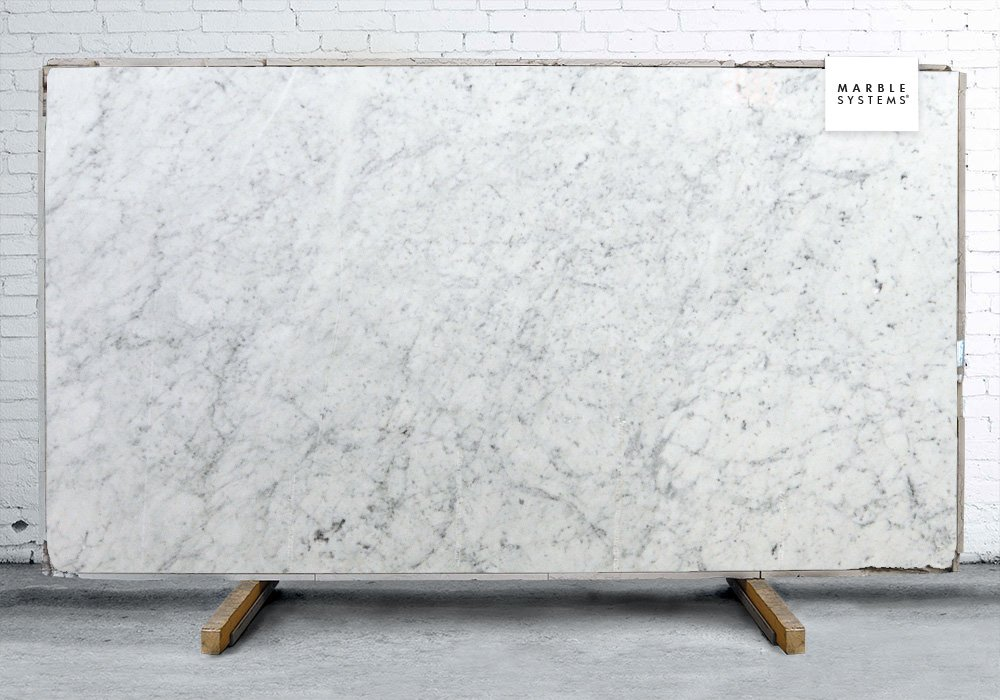 WHITE CARRARA POLISHED MARBLE SLAB SL10459