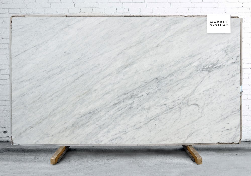 White Carrara Polished Marble Slab Random 3 4