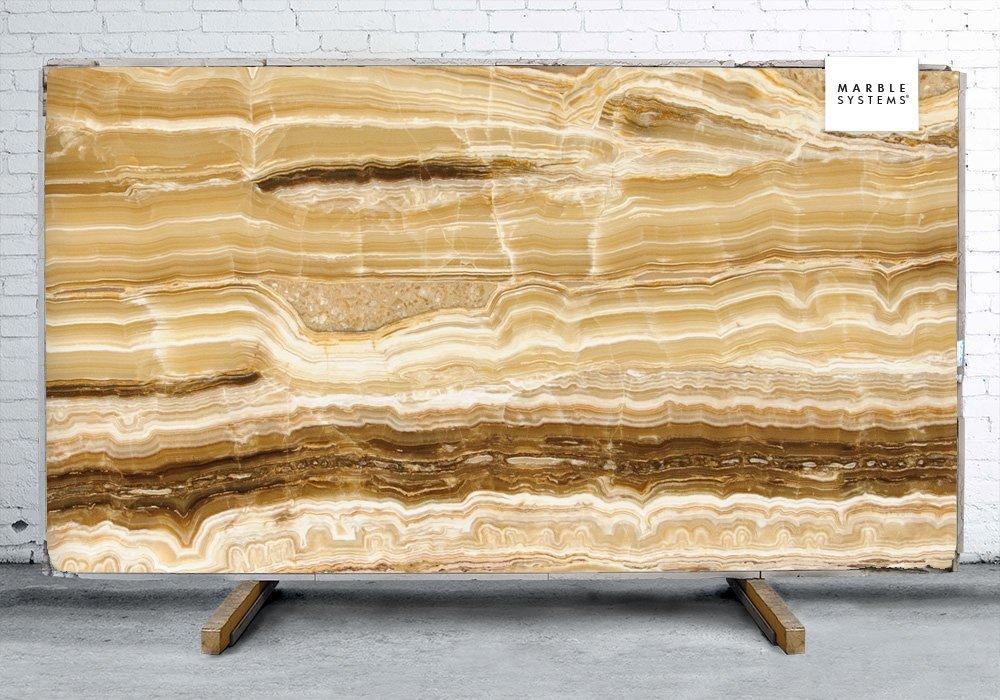 Onyx Stone Slabs : Caramel onyx vein cut polished slab random