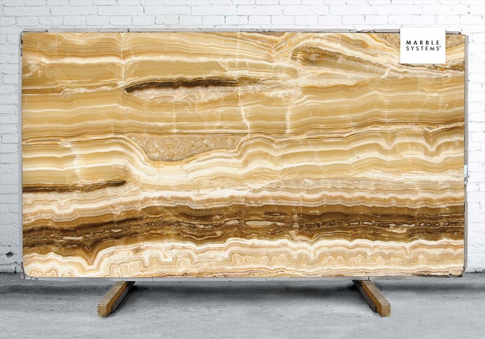 CARAMEL ONYX CROSS CUT POLISHED ONYX SLAB SL11217