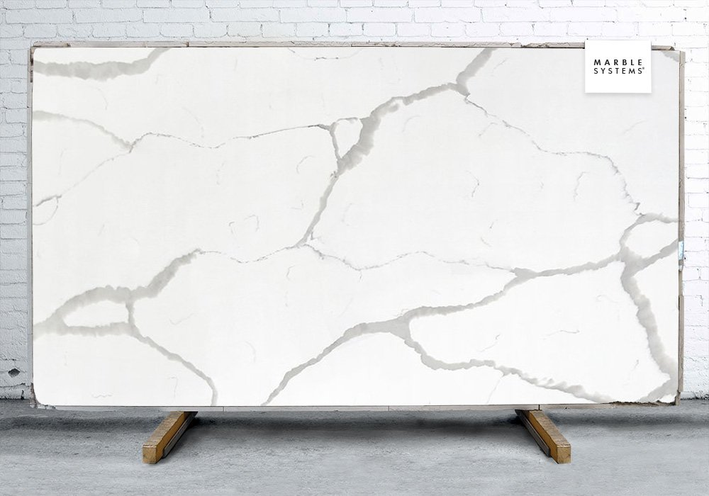 Color Calacatta Polished Quartz Slab Random 1 1/4