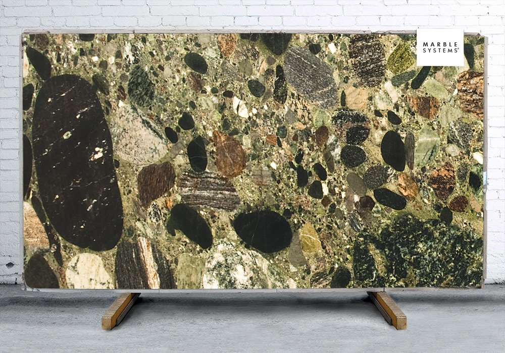 Picasso Green Polished Granite Slab Random 1 1/4