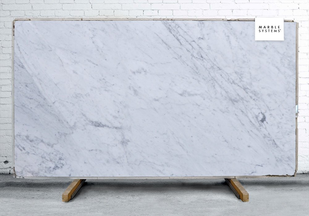 White Carrara C Extra Polished Marble Slab Random 1 1/4
