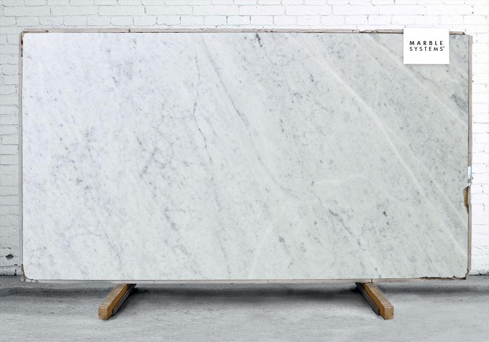 WHITE CARRARA C EXT HONED&FILLED MARBLE SLAB SL90466