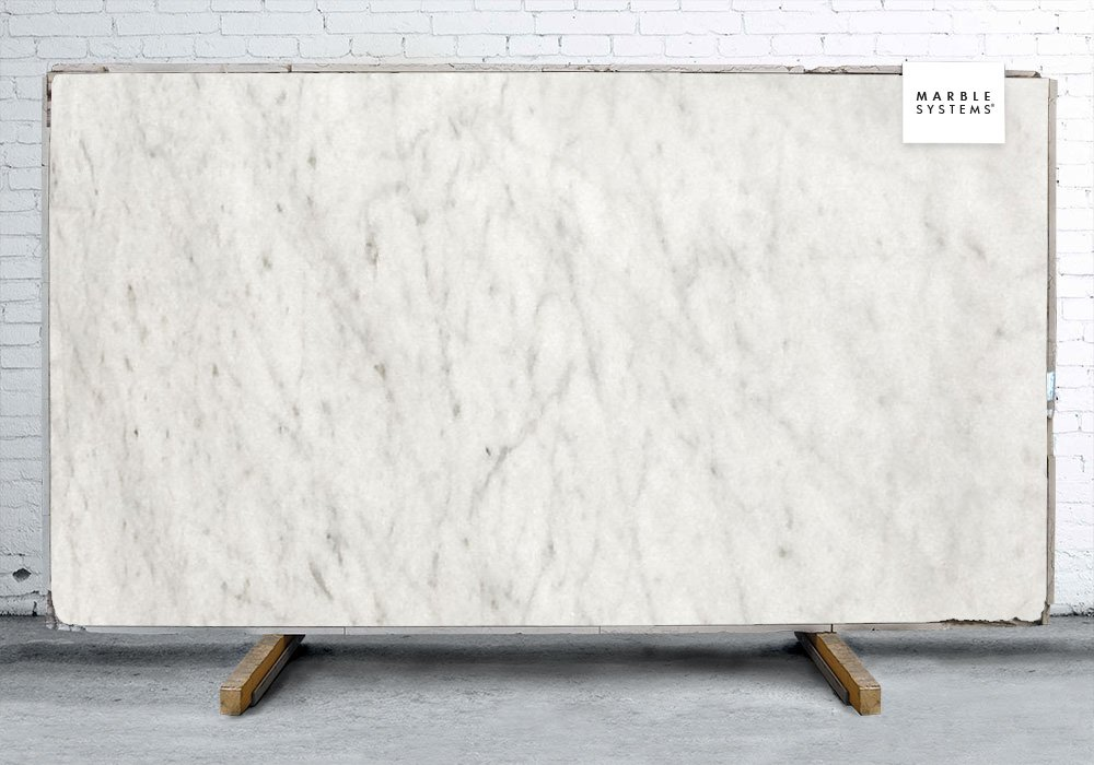 White Carrara C Polished Marble Slab Random 3/4
