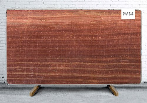 Red Polished Travertine Slab Random 1 1/4