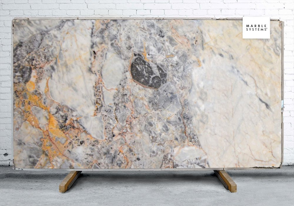 Breccia Romana Polished Quartzite Slab Random 1 1/4