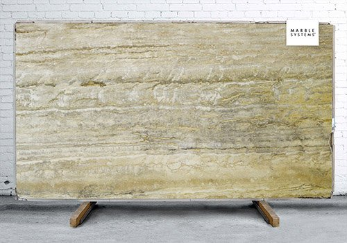 Silver Rustic Vein Cut Polished Travertine Slab Random 3/4