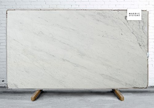 White Carrara C Supreme Polished Marble Slab Random 1 1/4