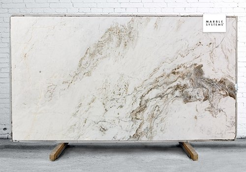 Glorious White Polished Marble Slab Random 3/4