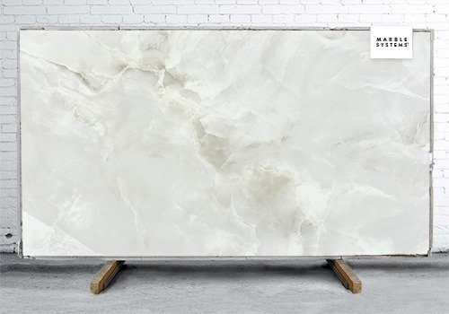 Marea White Polished Porcelain Slab 47 1/4x94 1/2