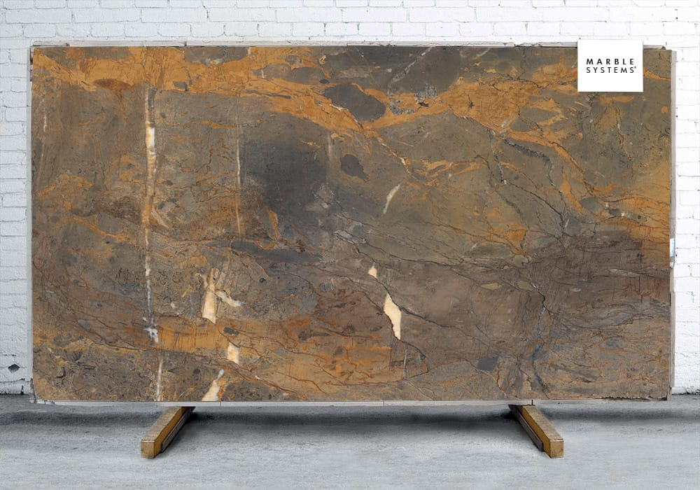FOSSIL BROWN A LAPPATO LUCIDO PORCELAIN SLAB YEM00927