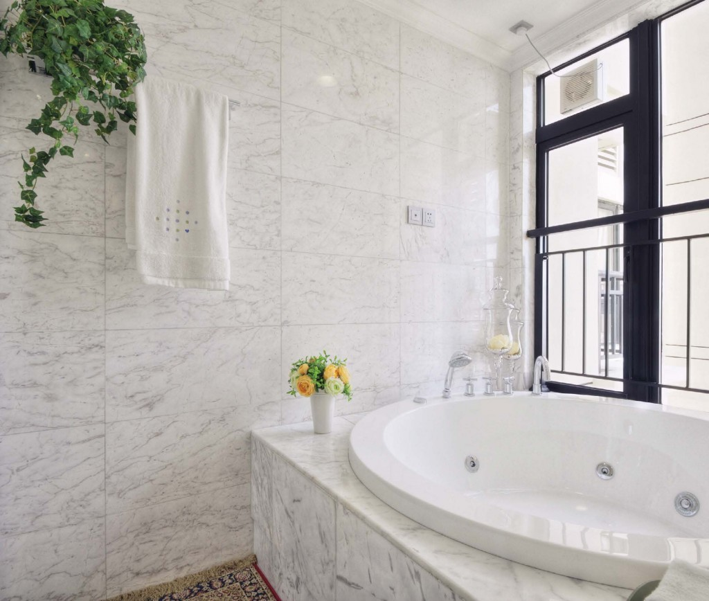 White on white in stone design trends marble system inc for Limestone bathroom ideas