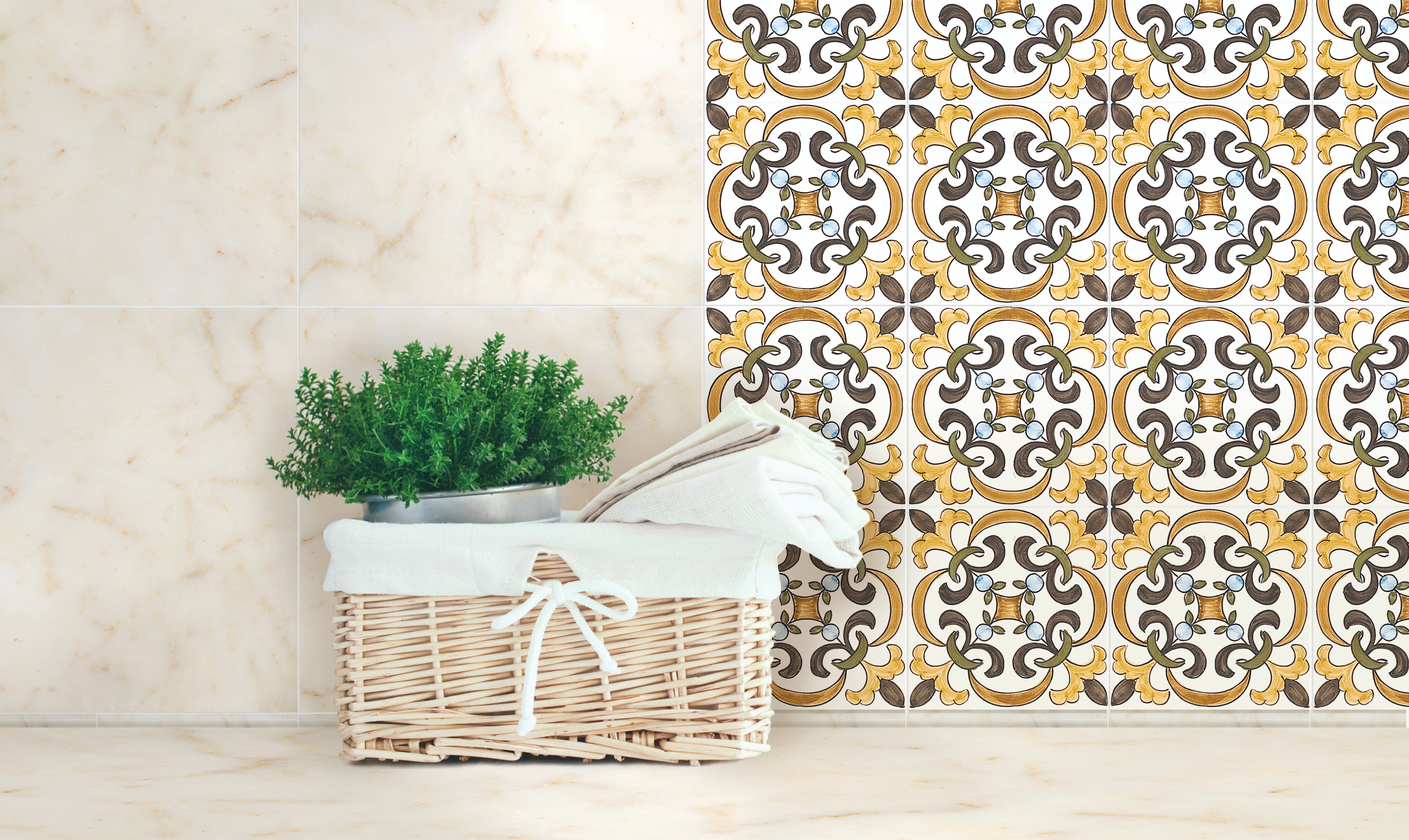 marble together with ceramic tile