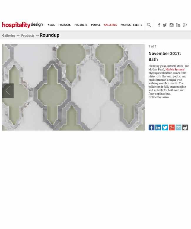 Hospitality Design MystiqueCollection MarbleSystems Nov17