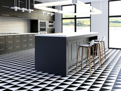 black marble floor tiles